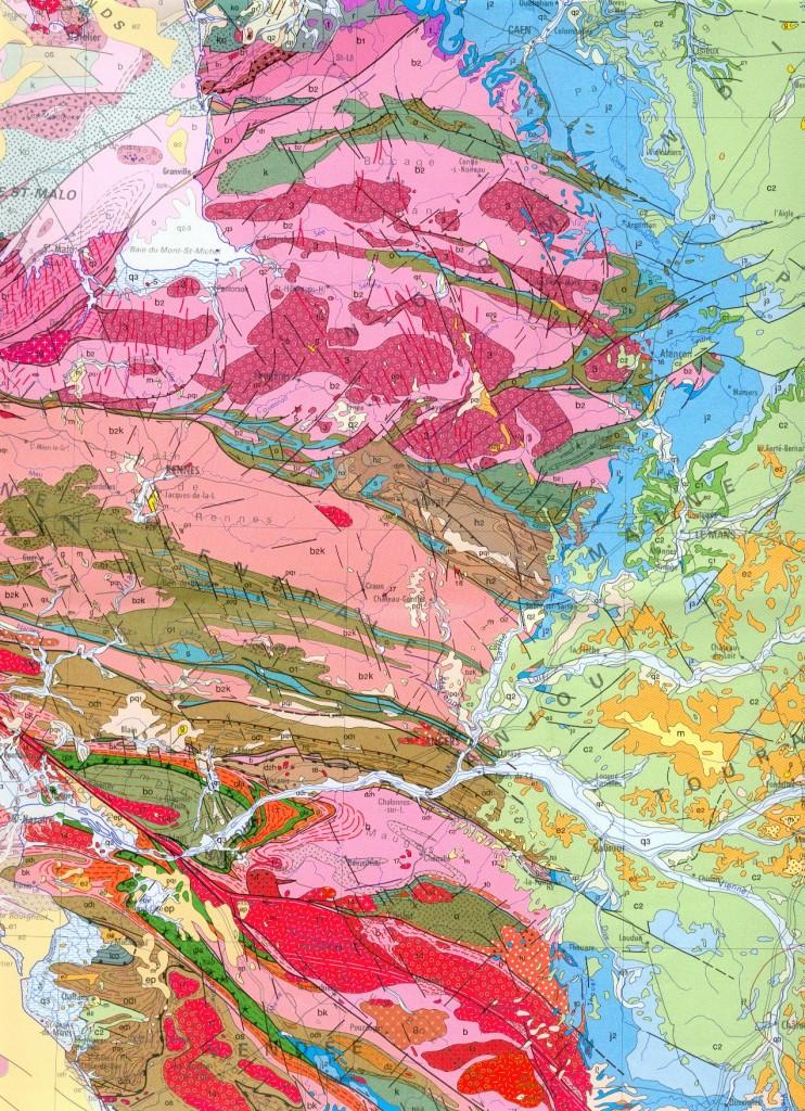 Carte extrait Massif Armoricain -Bassin Parisien France